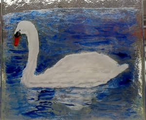 Hand painted Swan on a fused glass coaster