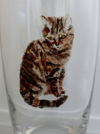 Cat glass painting on a tumbler