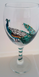 Hand Painted Peacock on a wine glass