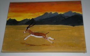 Gazelle mixed media acrylic and glass painting