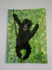 Gorilla ACEO mixed media acrylic and glass painting