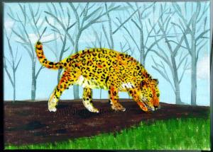 Jaguar Mixed Media 7 by 5 inch canvas