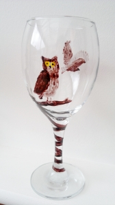 Owl wineglass