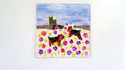 yorkshire terriers flowers