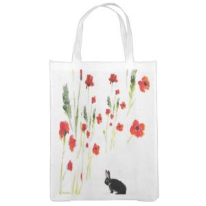 Poppy rabbit folding shopping bag