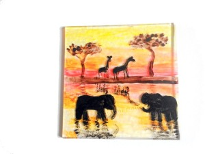 This is the top of the coaster, with the painting in reverse.  I can now see more work is required!