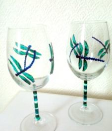 dragonfly wine glasses by A Potter