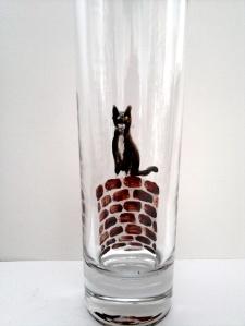 black and white cat vase in progress