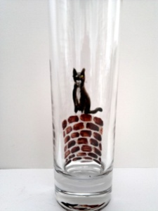 black and white cat vase in progress