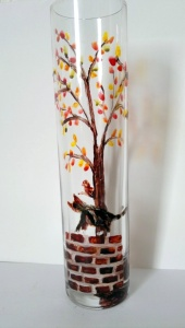 tabby cat autumn tree