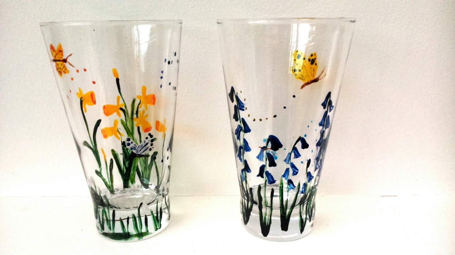 New Spring flower glass paintings on glass tumblers