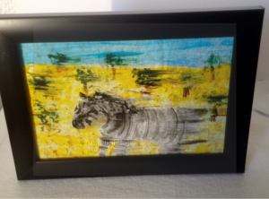 New zebra glass painting, semi abstract