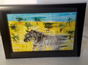 New zebra glass painting, semi abstract