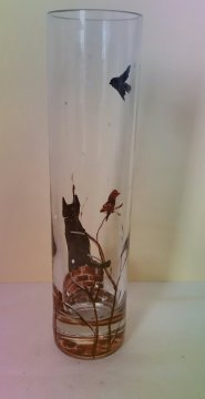 Cat vase glass painting in a snowy December