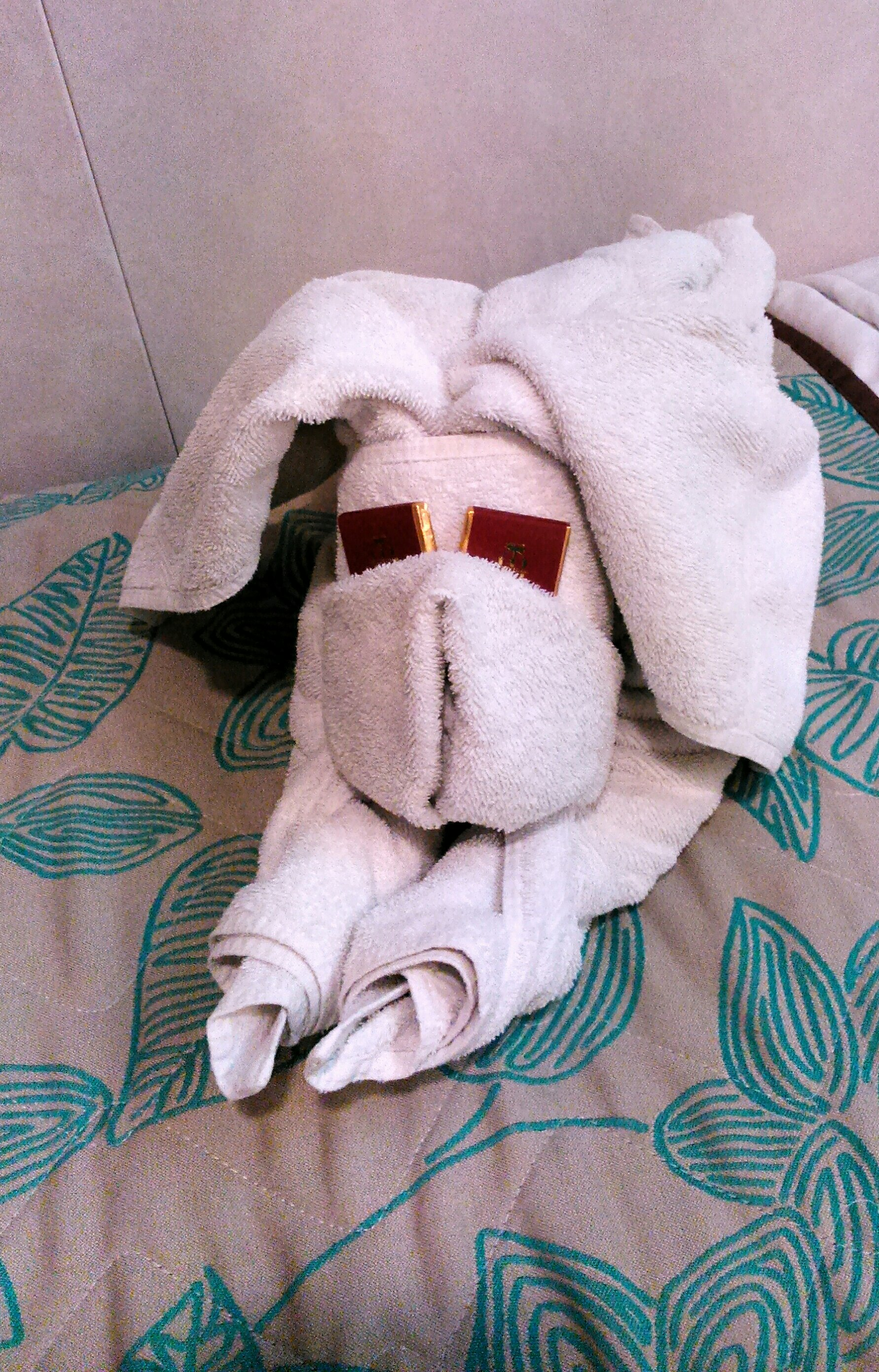 Towel origami of a dog
