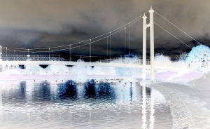 Abstract winter scene photograph of Exeter Quay in England