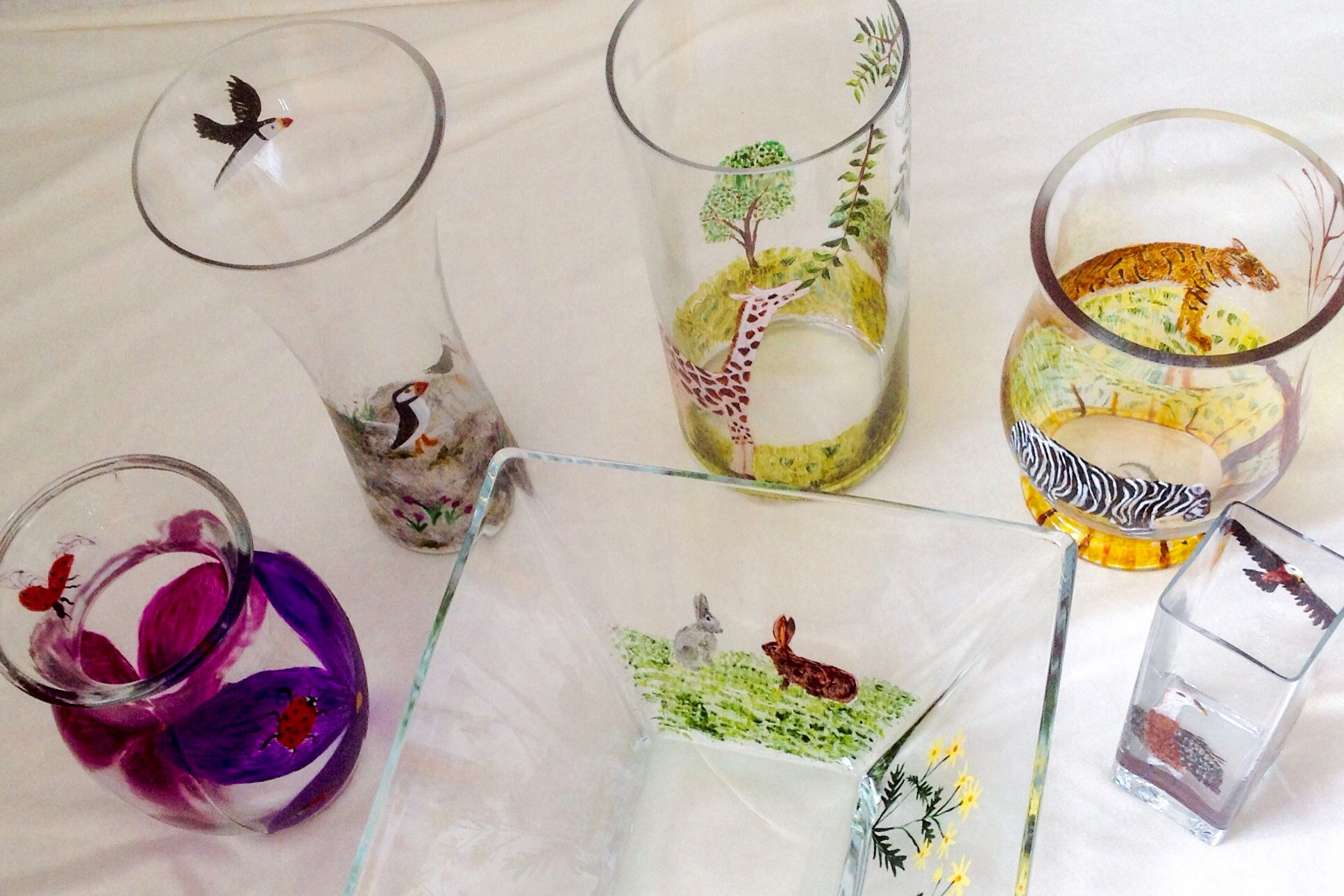 Collection of Glassware Paintings for an Animal Alphabet Project