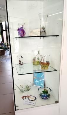 Library Alphabet glassware display